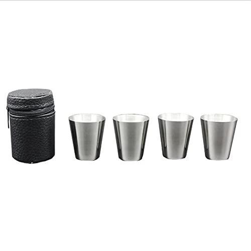 DOROCH 4 unids/Set 30 ml Acero Inoxidable Pulido Vino de Bebida de Vino Taza de vidrios con Cubierta de Cuero Funda Bolsa Barware para casa Barra de Cocina (Capacity : (50ml)