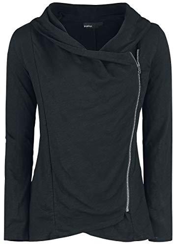Forplay Asymmetric Slub Yarn Zipper Frauen Cardigan schwarz M 100% Baumwolle Basics