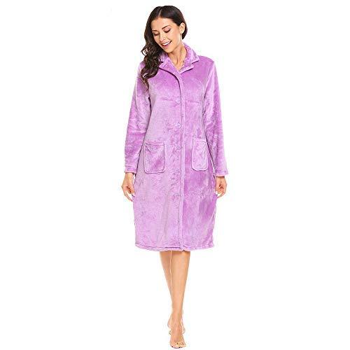 HUAHUA HOMEWEAR Invierno de las mujeres del traje ropa de dormir ropa de dormir caliente suave collar de la solapa del botón de manga larga albornoz de la felpa femeninas casa Ropa, Negro, M Vendaje