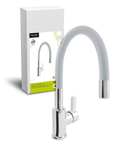 'aquaSu® 78888 5 Lago Multi 2.0 Spültischarmatur, Einhandmischer Küchenspüle, Grau/Chrom