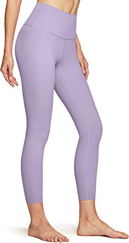 TSLA Women High Waist Yoga Pants with Pockets, Tummy Control Yoga Capris, 4 Way Stretch Capri Leggings with Pockets, 7/8 Length Peachy(fap42) - Lavender, Small