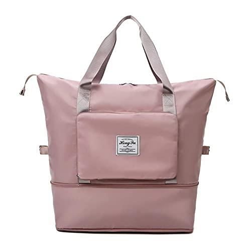 Borse da viaggio da donna, borsone da viaggio grande borsa sportiva da viaggio borsa a tracolla bagnata e asciutta impermeabile (Rosa)