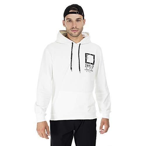 BURATTI - Sudadera con capucha para hombre, con bolsillo tipo canguro Blanco XL