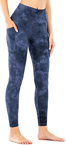 OVRUNS Women's High Waisted Yoga Pants Workout Athletic Exercise Compression Active Tights Running Sports Yoga Leggings with Pockets - Navy Tie Dye - S
