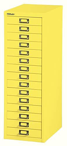 BISLEY Schubladenschrank 39 aus Metall mit 15 Schubladen | Schrank für Büro, Werkstatt und Zuhause | Stahlschrank in Zinkgelb