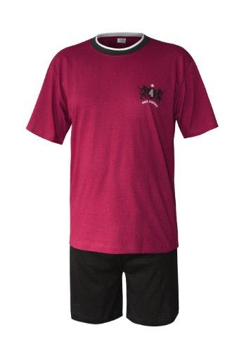 Herren Pyjama Schlafanzug kurz Herren Pyjama kurz Herren Shorty Schlafanzug aus 100{3d891bf5b80e01f3bbfd80ade71cacfe444ccae1828d09caeb4dd7559de113cb} Baumwolle (XXL/58-60, Oberteil rot/Hose Uni)