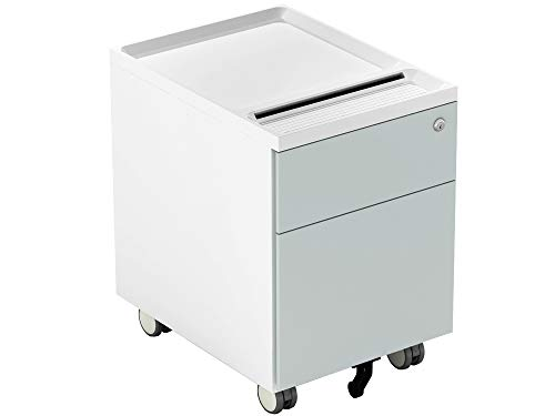 Price comparison product image CUBESPACE 2 Drawer File Cabinet,  Metal Vertical Filing Cabinet with Lock and Casters,  Mobile File Cabinets for Home Office