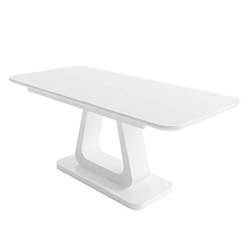 """Modern Contemporary Glass Top Dining Table 63/79"""" with Wood Base - Modern Extendable Dining Table - High Gloss White Dining Table - Rectangular Dining Table with Tempered Glass Top"""