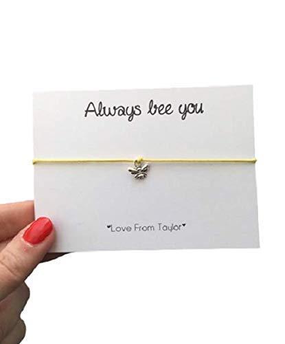 Bee adjustable wish bracelet, Bumble bee Jewellery gift, Yellow