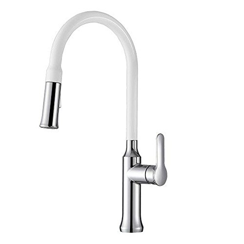 Amazing Deal FHLYCF Kitchen faucet, modern all copper white paint chrome plated pulling type hot and...