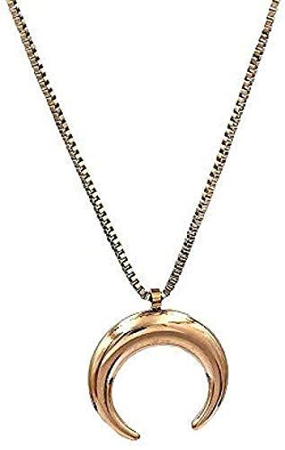 WSBDZYR Co.,ltd Collar de Moda de Oro Pulido de Acero Inoxidable con Cuernos de Buey Colgante, Collar, Collares Pendientes para Mujeres, Collares de Media Luna, joyería