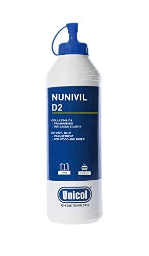 Unicol Nunivil D2 Colla Vinilica Legno e Carta, Flacone 500 gr, Bianco in Applicazione, Trasparente Dopo l'asciugatura