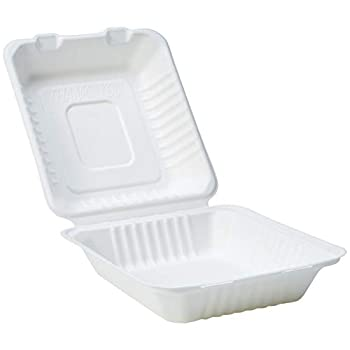 Amazon Basics Compostable Clamshell Hinged Food Container 8  x 8  x 3  Pack of 25