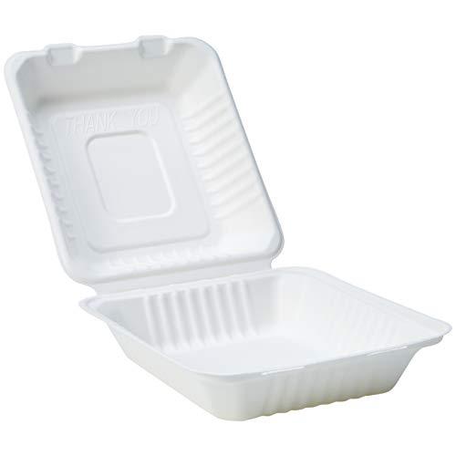 Amazon Basics - Vaschetta usa e getta, con coperchio, per asporto, compostabile, ecologica e biodegradabile, 22 x 22 x 8 cm, confezione da 50