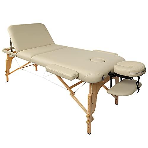 Camilla de masaje, mesa de masaje, mesa de masaje, cosmética reclinable triple portátil, con patas de madera, profesional, ligera, bolsa de transporte