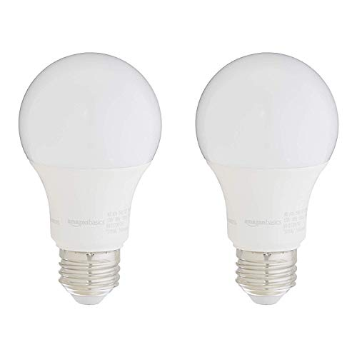 AmazonBasics 75W Equivalent, Soft White, Dimmable, 10,000 Hour Lifetime, A19 LED Light Bulb | 2-Pack