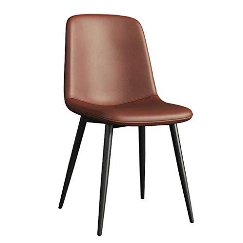 Dining Chair Wohnzimmer Schlafzimmer Zähler Büroecke Freizeit Rezeption Stuhl mit Faux Matte Leder Gepolsterte Sitz und Metallbeine, Armless YMIK (Color : Brown)