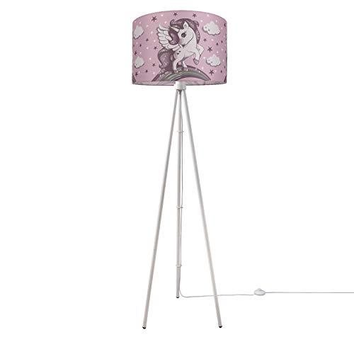 Luminaria Habitación Infantil LED Luminaria De Pie Unicornio Niña Luminaria E27, Base de la lámpara:Tres Patas Blanco + Bombilla, Pantalla de lámpara:Rosa (Ø45.5 cm)