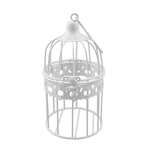 PrimoLiving Gabbia decorativa per uccelli P-694, in metallo, 21 x 11 cm, colore: bianco