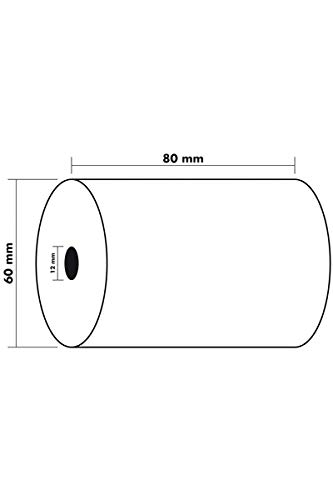 Exacompta - Réf. 43804E - Lot de 10 bobines pour balance 80x60 mm - 1 pli thermique 55g/m2 sans BPA. - Métrage (+ ou - 2m) : 44 m.