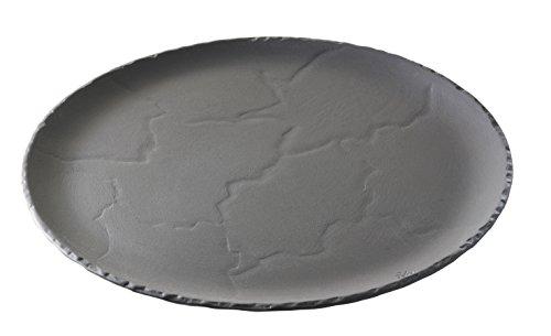 Revol 641010 Plateau Rond Ardoise Porcelaine Noir Brut 32 cm