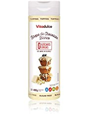 Sirope de chocolate blanco sin azúcar, Topping de chocolate blanco, Sirope bajo en calorías 400 gr - Vitadulce