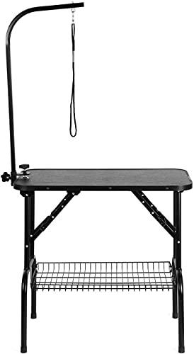 spaire Mesa Perro Peluqueria Mesa Plegable de Aseo Canina, con Cesto, Mesa para Perros Mascota de Altura Regulable, Carga 100Kg Dimensión 80.5 × 46 × 76cm