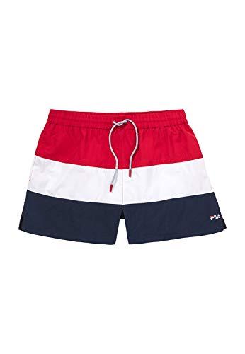 Fila 687203 Men Saloso Swim Shorts Black Iris-Bright White-True Red - True Red-Bright White-Black, Small
