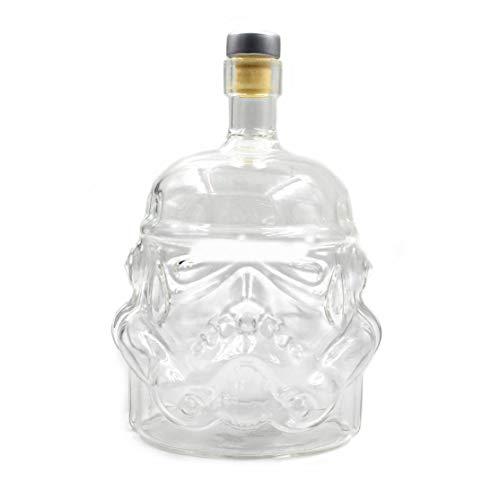 LouiseEvel215 Transparente kreative Whiskyflasche Karaffe Dekanter Stormtrooper Glasflasche Wein Dekanter Glasschale