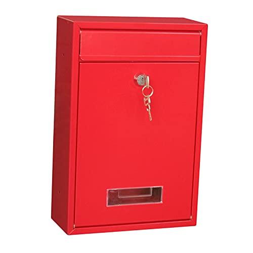 Fenteer Caja de buzón de Correo con Bloqueo, Caja de Correo con Cerradura, Puerta de la Oficina en casa Decorativa con Caja de Correo 2 Llaves, Caja de Correo - Red