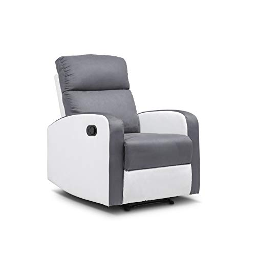 IDMarket - Fauteuil Relaxation inclinable Gris Anthracite et Blanc