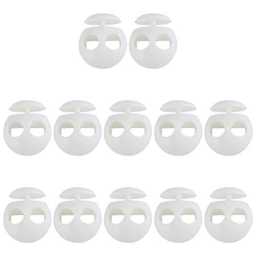 YeVhear 12 piezas de plástico con cierre de clip para la primavera, parada, doble agujero, zapatilla, tope de cuerda fina para cordón de ropa, cordones, bolso, camping, color blanco
