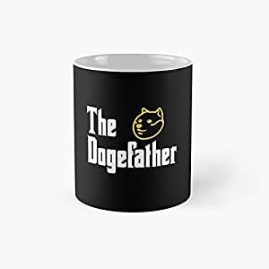 The Dogefather Dogecoin Classic Mug - Ceramic Coffee White (11 Ounce) Tea Cup Gifts For Bestie, Mom And Dad, Lover, Lgbt