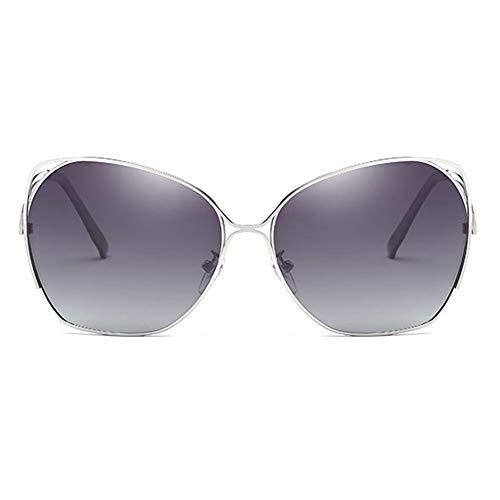 LG Snow Clásica Material Metálico Colorido UV400 Gafas De Sol Azul/Gris/Plata Lentes De Montura Plateada Modelos Femeninos Gafas De Sol Polarizadas De Conducción (Color : Gray)