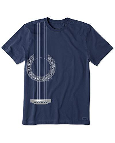 Life Is Good Crusher T-Shirt Unisexe pour Homme Motif Guitare tribale Positivité/Musique Taille XXXL Guitare Bleu foncé