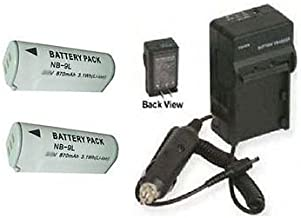 TWO NB-9L Batteries + Charger for Canon ELPH SD4500 IS, Canon IXUS 510, Canon 1000 HS, Canon 1100 IS