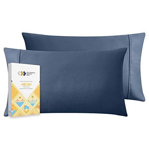 California Design Den 400 Thread Count 100% Cotton Pillow Cases, Indigo Navy Blue Standard Pillowcase Set of 2, Long - Staple Combed Pure Natural Cotton Pillowcase, Soft & Silky Sateen Weave