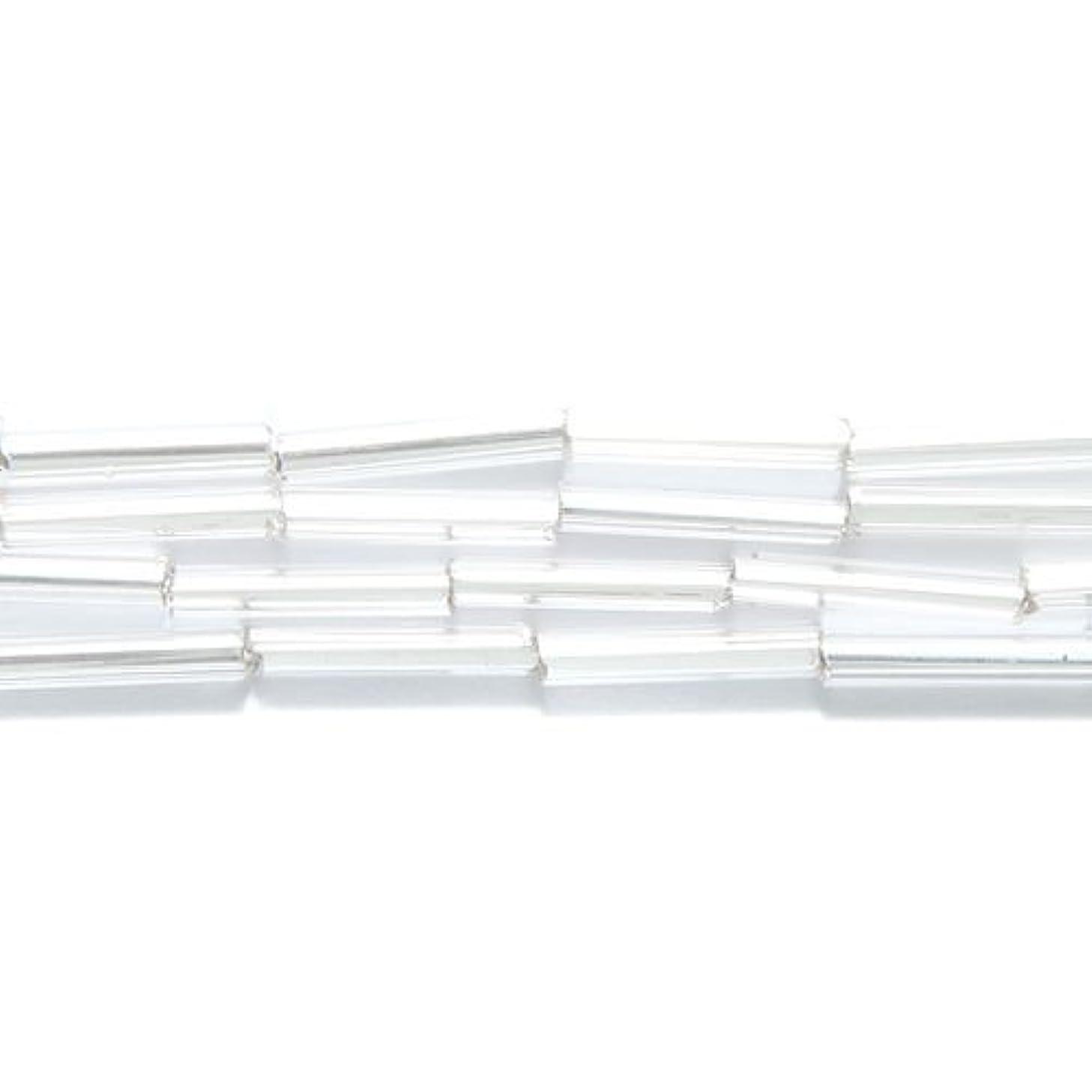 Preciosa Ornela Czech Straight Bugle Glass Bead No.5, 2 by 11mm, Silver Lined, Crystal