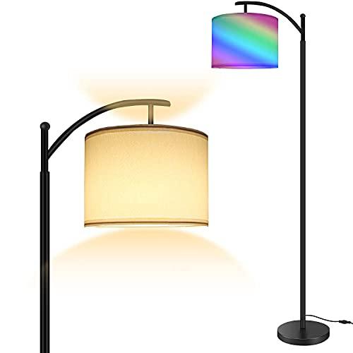 Lámpara de pie RGB, iluminación de pie moderna con control táctil, 4 Temperatura de Color Ajustable, Lámpara de pie con pantalla giratoria para dormitorio, oficina, salón, lectura