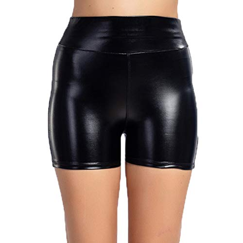 NQY Yoga-Shorts Damen Sexy Leder Shorts Glanz Schwarz Hohe Taille PU Lederoptik Kurze Hose Push up Lederimitat Kunstlederhose 3XL