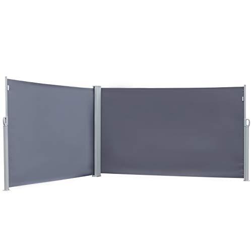 Outsunny Doppel-Seitenmarkise, Sicht- und Sonnenschutz, Seitenrollo, Polyester, Grau, 6 x 1,6 m