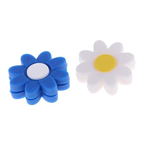 F Fityle Amortiguador de Vibraciones Reductor de Golpes de Raqueta de Silicona de Tenis Azul Blanco de 2 Piezas