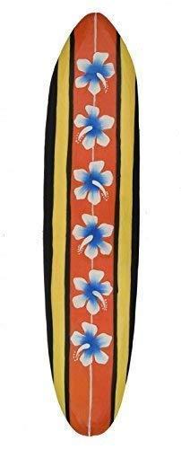 Interlifestyle Tabla de Surf 100cm con Flores de Hibiscus Motivo Decoración Hawai Letrero de Madera