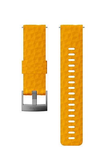 Suunto Bracelet de remplacement Original pour les Montres Suunto Spartan Sport Wrist HR, Silicone, Longueur : 22,3 cm, Largeur : 24 mm, Ambre/Argent, avec Broches de fixation, SS050012000