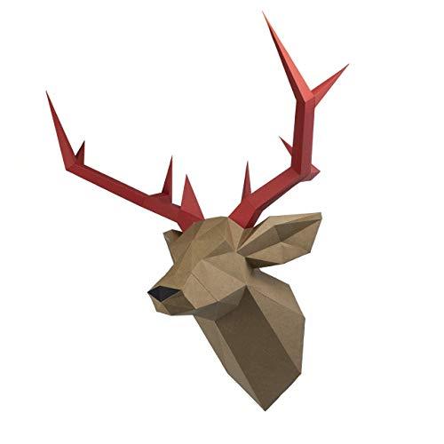 Rehkopf, Yona DIY Papercraft Kit, Hirsch papiermodell, 3D Origami Kit von Hand zusammenzubauen, Heimdekoration, Geschenk, Origami 3D, Papier Handwerk, Puzzle 3D,Deer head caqui.