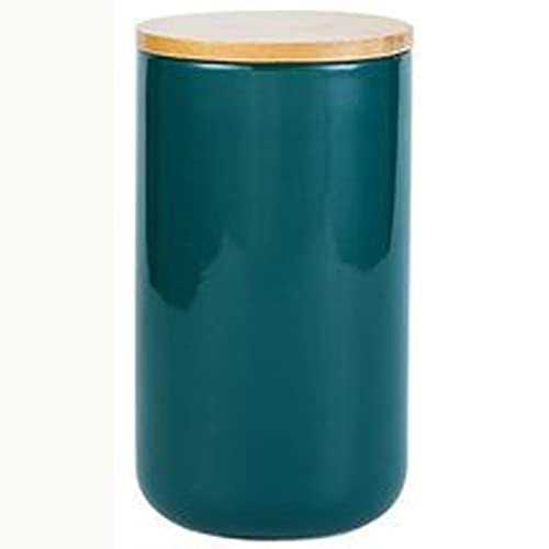 SKREOJF Tarro de botella de almacenamiento de cerámica de estilo nórdico para color de madera de color sólido Latas de tapa de cocina Té de café Cabina de caramelo CANS DE CONTENEDORES DE ALMACENAMIEN