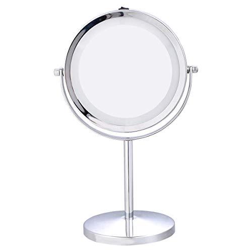 COSTWAY Specchio per Il Trucco φ17,5cm Specchio da Tavolo con Illuminazione a LED Doppia Faccia Specchio Ingranditore 5 Volte