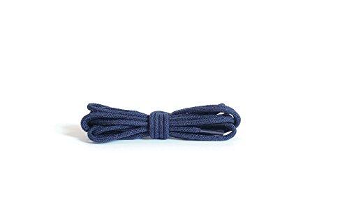 Kaps runde dünne Schnürsenkel, 2 mm breit, 100% Baumwolle, hochwertige Qualität für Freizeit- und Modeschuhe - 1x Paar in vielen Farben und Längen (90 cm - 5 to 6 Ösenpaare),Blau