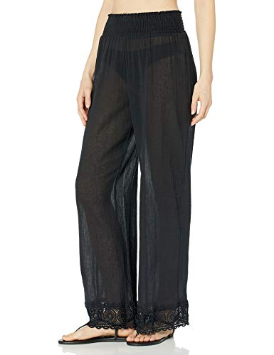 La Blanca Women's Smocked Lounge Pant Swimsuit Cover Up, Black, X-Large