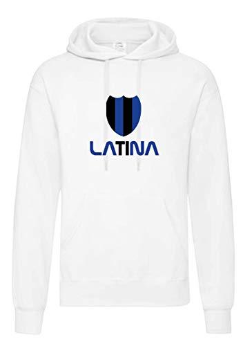 Felpa Bianca Cappuccio tasconi Latina Cuore neroazzurro Tifosi Calcio Taglia M (per S M L XL XXL - Bambino invia Messaggio con n. Ordine)